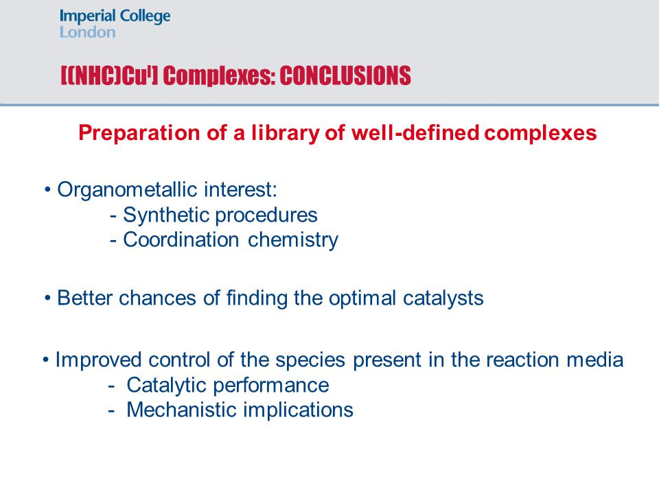 [(NHC)CuI] Complexes: CONCLUSIONS